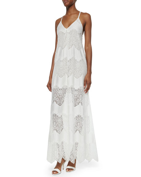 Alice + Olivia Vandy Low-Cut Lace Slip Dress,