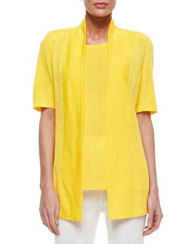 Short-Sleeve Graphic Lines Cardigan, Petite