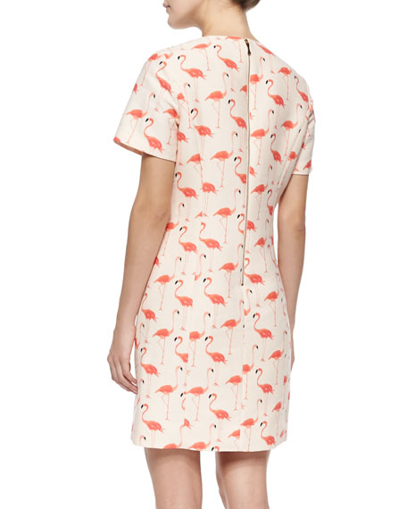 kate spade new york short-sleeve flamingo-print sheath dress
