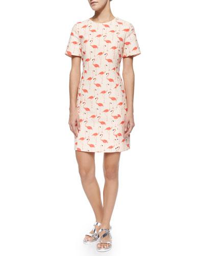 short-sleeve flamingo-print sheath dress