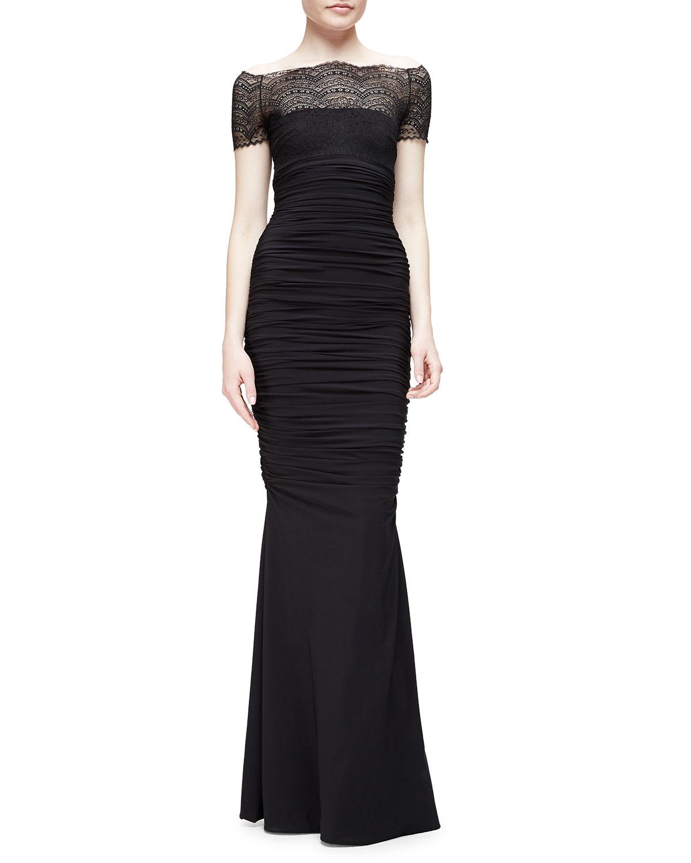 df87ee61 Chiara Boni La Petite Robe Nasir Lace-Bodice Mermaid Gown, Black ...
