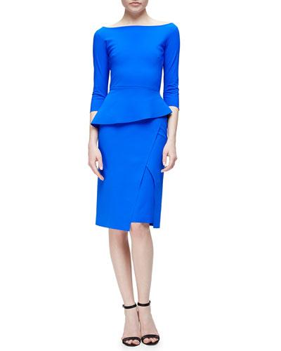 Saskia 3/4-Sleeve Peplum Dress