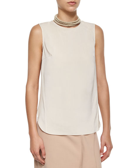 Brunello Cucinelli Layered-Back Silk Tank, Orzo