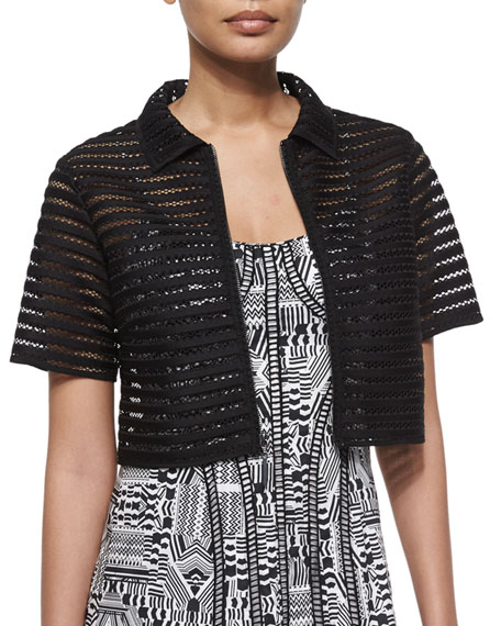 Nanette Lepore Barely There Mesh Crop Jacket
