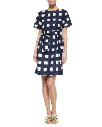 Tie-Front Poplin Square Dress, Navy/White