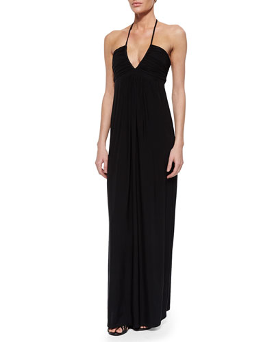 Ruched Maxi Halter Dress, Black