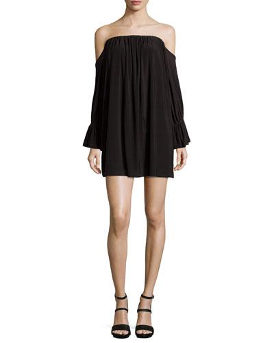 Off-the-Shoulder Jersey Dress, Black