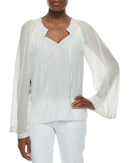 Ramy Brook Baya Embroidered Silk Top, Summer White