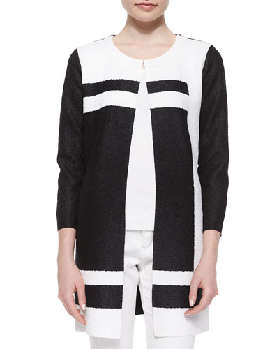 Graphic Long Crinkle Jacket, Black/White, Women