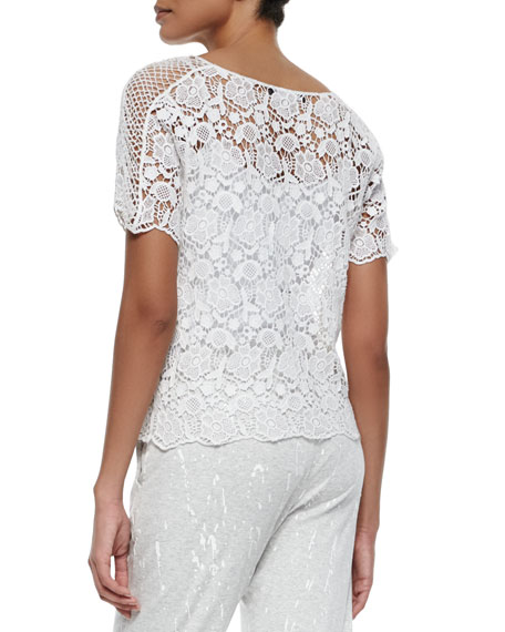 Krissy Floral Mesh Embroidered Top, White