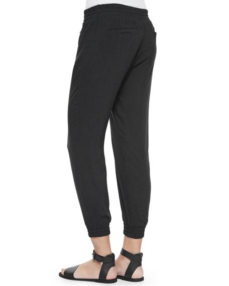 Drawstring Voile Jogger Pants, Black