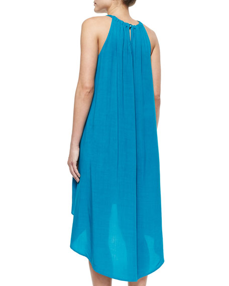 Gathered-Neck Voile Dress, Teal