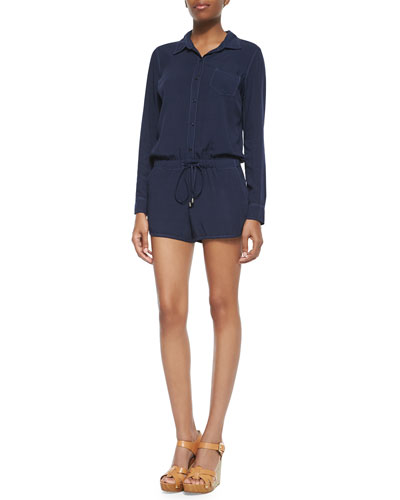 Long-Sleeve Voile Romper, Navy