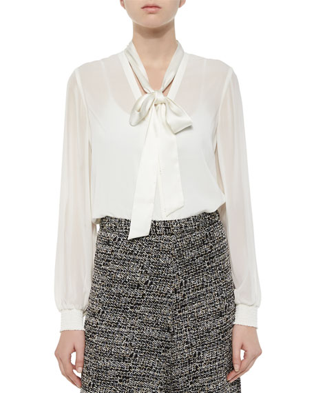 Alice + Olivia Devin Tie-Neck Blouse, Ivory