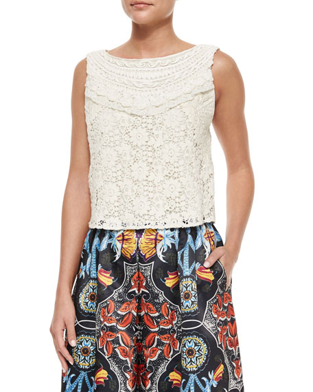 Alice + OliviaFinlay Fitted Sleeveless Crochet Top