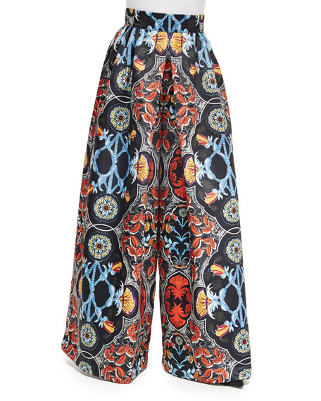 Alice + Olivia Baroque-Print High-Waist Pants