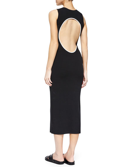 Vysa Prosecco Open-Back Midi Dress, Black/White