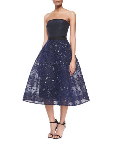Strapless Bead-Embroidered Fit-And-Flare Cocktail Dress