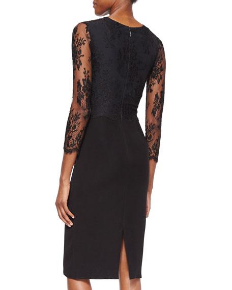 Floral-Lace Bustier Sheath Dress