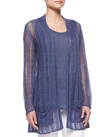 Neiman Marcus Linen Drop-Stitch Cardigan Sweater & Tank