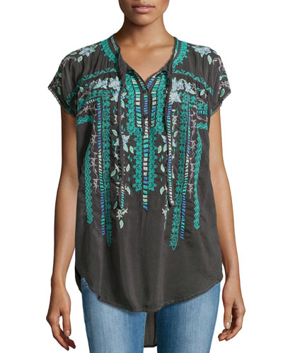 Athina Embroidered High-Low Georgette Blouse