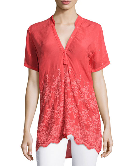 Johnny Was Tulia Short-Sleeve Embroidered Georgette Blouse, Plus