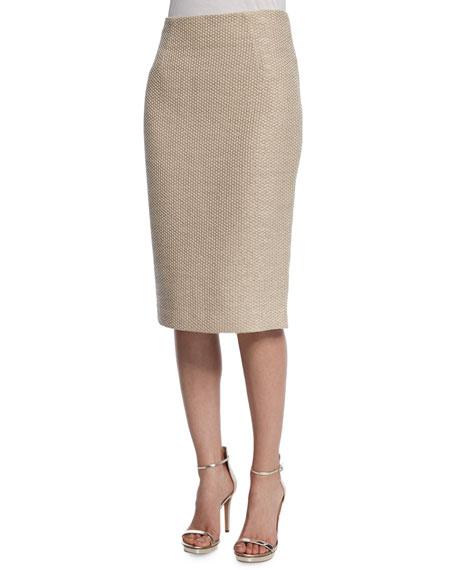 badgley mischka pique pencil skirt taupe