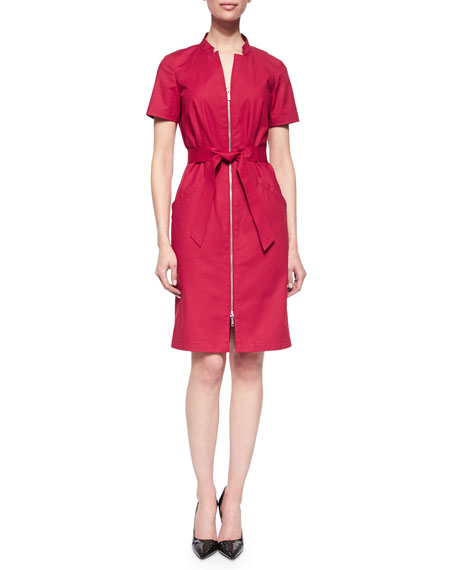 Lafayette 148 New York Hathaway Belted Zip-Front Dress