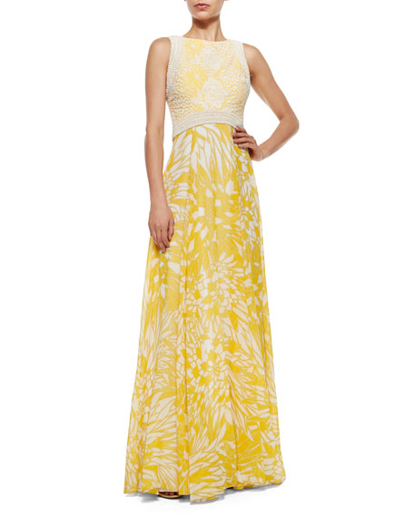 Badgley Mischka Sleeveless Crochet-Trim Printed Flowy Gown