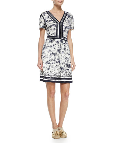 Floral V-Neck Sheath Dress, Blue/White