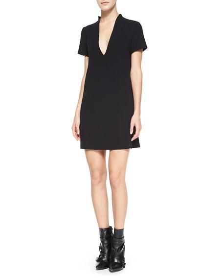 Seamed V-Neck Boxy Dress, Black