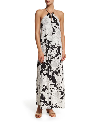 Nikka Halter Floral-Print Maxi Dress