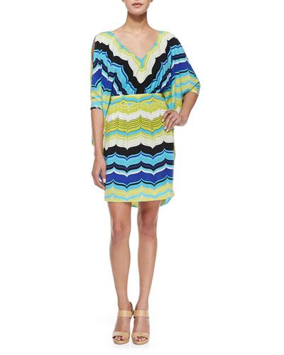 Seren Slit-Sleeve Striped Dress