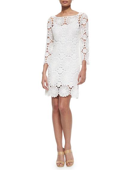 Trina Turk Summertime 3/4-Sleeve Lace Dress