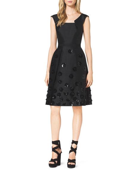 Michael Kors Collection Sequin-Embellished Shantung Dress