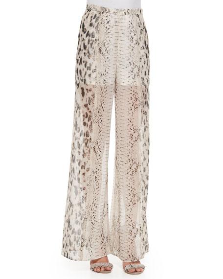 High-Waist Snake-Print Wide-Leg Pants