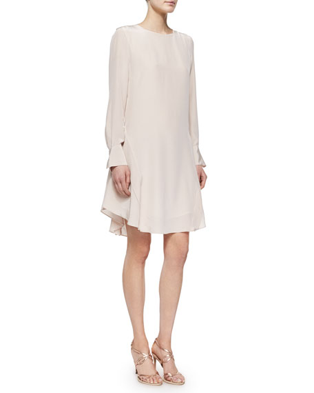 See by Chloe Long-Sleeve Silk Ruffle-Hem Dress