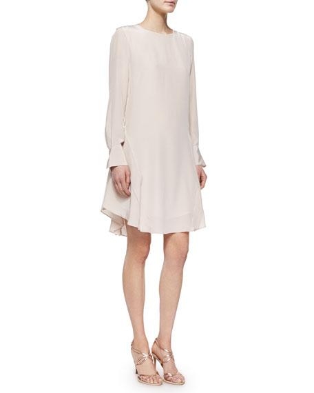See by Chloe Long-Sleeve Silk Ruffle-Hem Dress
