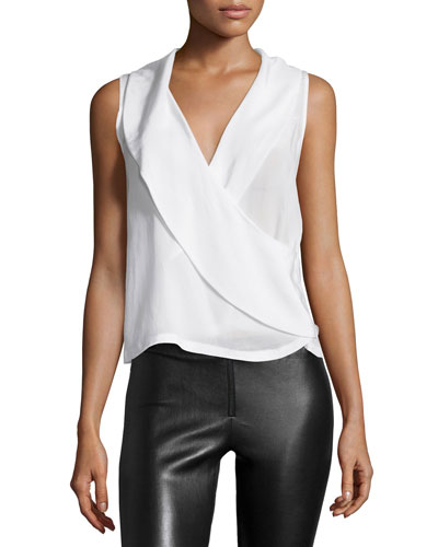 Sleeveless Asymmetric Wrap Top, Cream