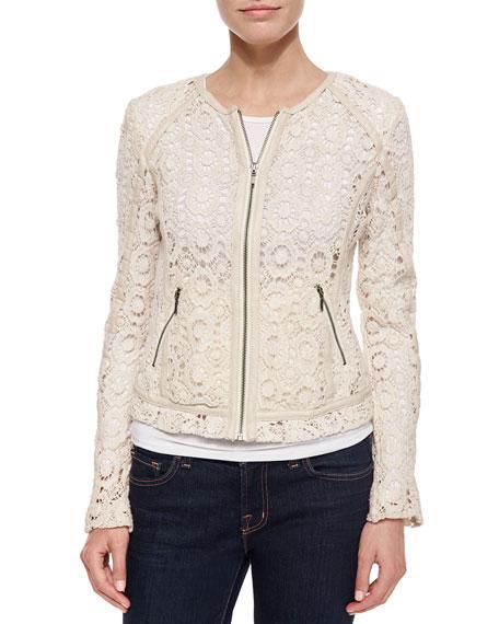 Bagatelle Crochet Jacket with Lambskin Trim