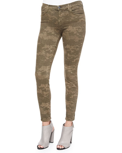 Mid-Rise Skinny Jeans, Olive Drab Camo