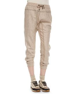 Tweed Drawstring Track Pants