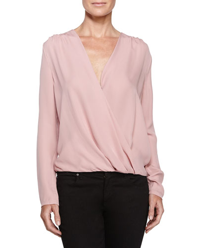 Wrap-Front Blouse, Dusty Pink