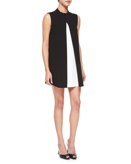 Rachel Zoe Maisie Pleated Colorblock Shift Dress, Black/White
