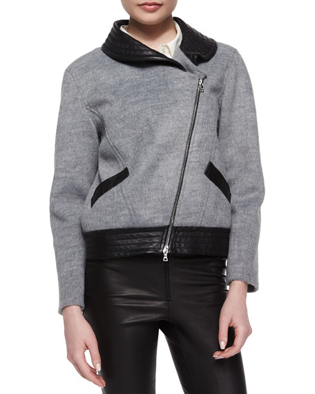 Marissa Webb Charlotte Soft-Textured Leather-Trim Jacket