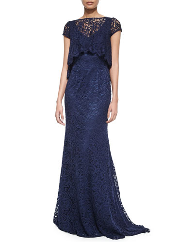 Short-Sleeve Lace Gown with Popover Top