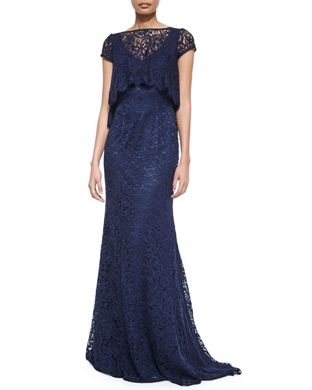 Theia Short-Sleeve Lace Gown with Popover Top