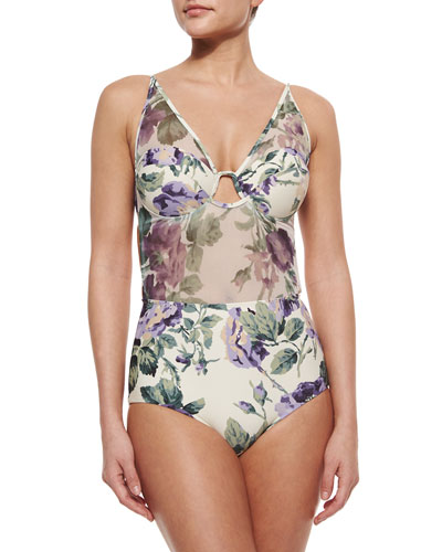 Lucia Mesh One-Piece Swimsuit, Floral