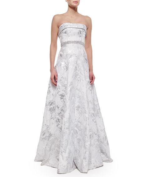 Carmen Marc Valvo Strapless Embellished-Waist Ball Gown