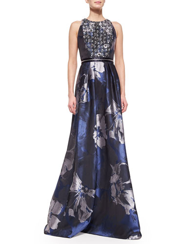 Beaded-Bodice Floral Evening Gown, Midnight